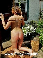 Blonde nude beauty gets harsh beaten by stinging whip lashes outdoor.